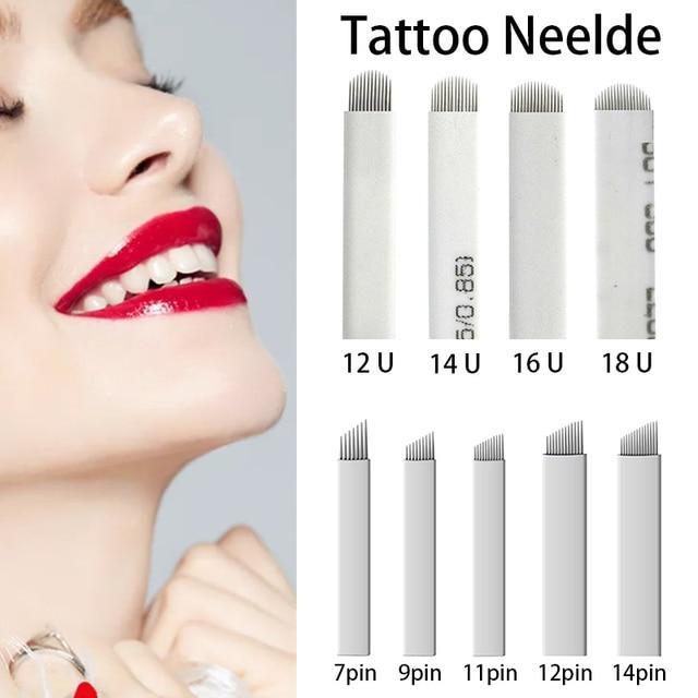 100pcs Microblading Needles 0.16mm nano Agulhas Lamina multiple Para Flex 12U Shape Tattoo Blades for Tebori Manual Eyebrow Pen 2