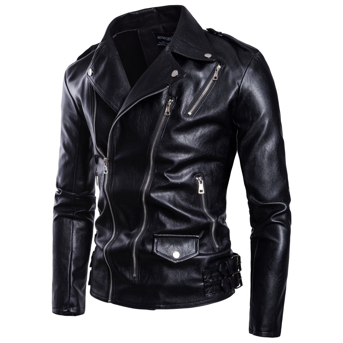 Autumn New Style High-End Men Locomotive Large Size Leather Coat Multi-Zipper Leather Jacket Coat M-5XL B027