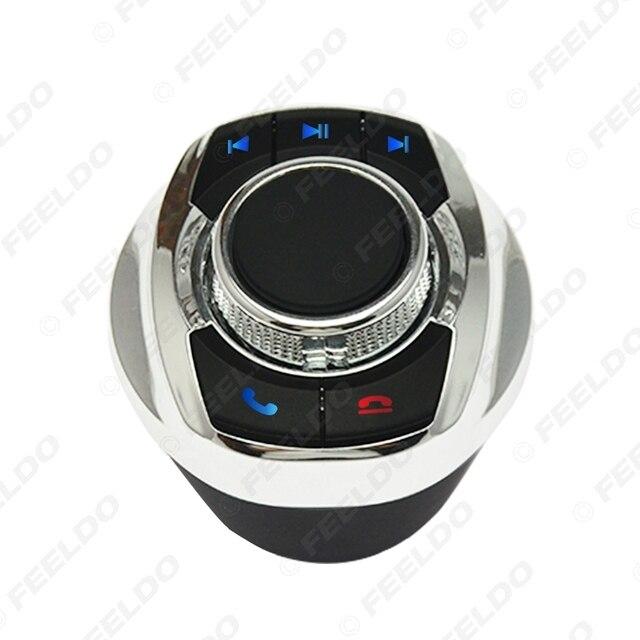 Feeldo nova forma de copo com luz led 8-funções chaves botão de controle do volante do carro sem fio para o jogador de navegação android do carro 4