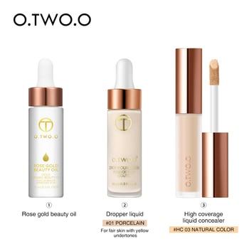 O.TWO.O 3 pcs Face Makeup Set Liquid Concealer Makeup Primer Beauty Oil Liquid Foundation Makeup Base Natural Face Cosmetic Kit 1