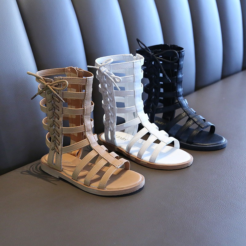 Summer Gladiator Roman High-Top Baby Girls Sandals With Flat Roman Shoes With Hollow Anti-Slip Casual Sandals
