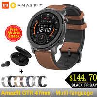Globale Versione Amazfit GTR 47 millimetri di Smart Orologio Huami 5ATM Impermeabile Smartwatch 24 Giorni GPS Batteria di Musica di Controllo Per Android IOS