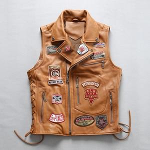 Image 4 - 22085 Read Description! Asian size good quality Cow skin vest mens cowhide leather stylish rider vest
