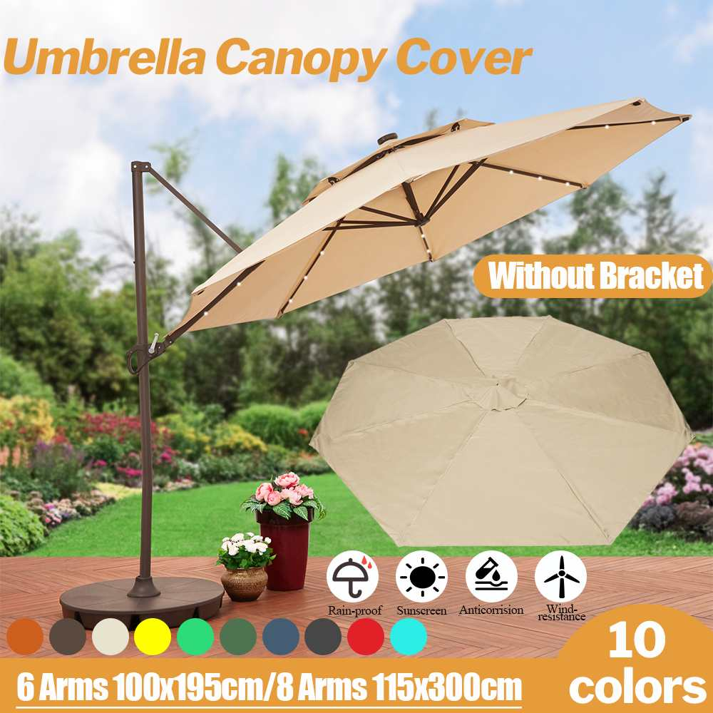 300x300cm Gazebo Tent Without Frame Sunshade Outdoor Patio Garden Umbrella Tent Canopy Waterproof Anti-UV Replacement Cover