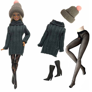 NK 4 Items/Set Doll Dress Fashion Model Coat Outfit Daily Sweater Hat+Shoe+Stocking For Barbie Doll Accessories Baby Toys 05C DZ(China)