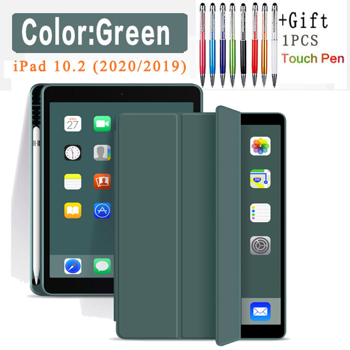 Pencil Case-Green Red Silicone Case For iPad 10 2 2020 2019 Pu flip leather case For iPad 10 2