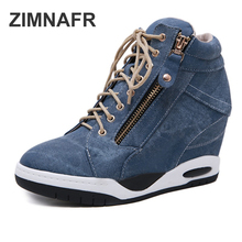 2019 new women boots increased wedge wet side zipper short boots women lace up of autumn an