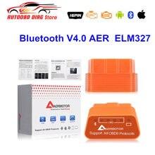 Melhor qualidade bluetooth v4.0 aer super mini elm327 bluetooth 4.0 obdii obd ferramenta de diagnóstico elm 327 scanner de código multi-idioma
