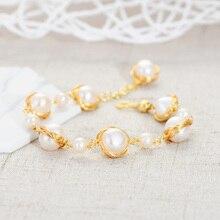 цена на Viennois Beaded Pearl Bracelets Brass with Gold Plated Freshwater Pearl Bracelets 2020 Women Handmade  Jewelry Bracelet