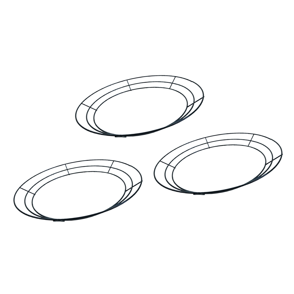 3-Pack Round Metal Wire Wreath Frame Form Hanger - Succulent Pot Metal Hanging Planter Plant Basket Holder - 35cm / 14inch