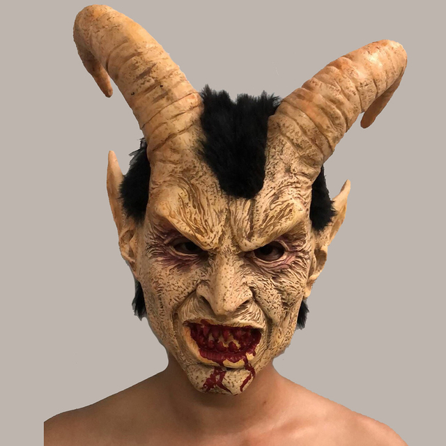 Lucifer Horn Cosplay Latex Masks Halloween Costume Scary Demon Movie Horrible mask Adults Party props