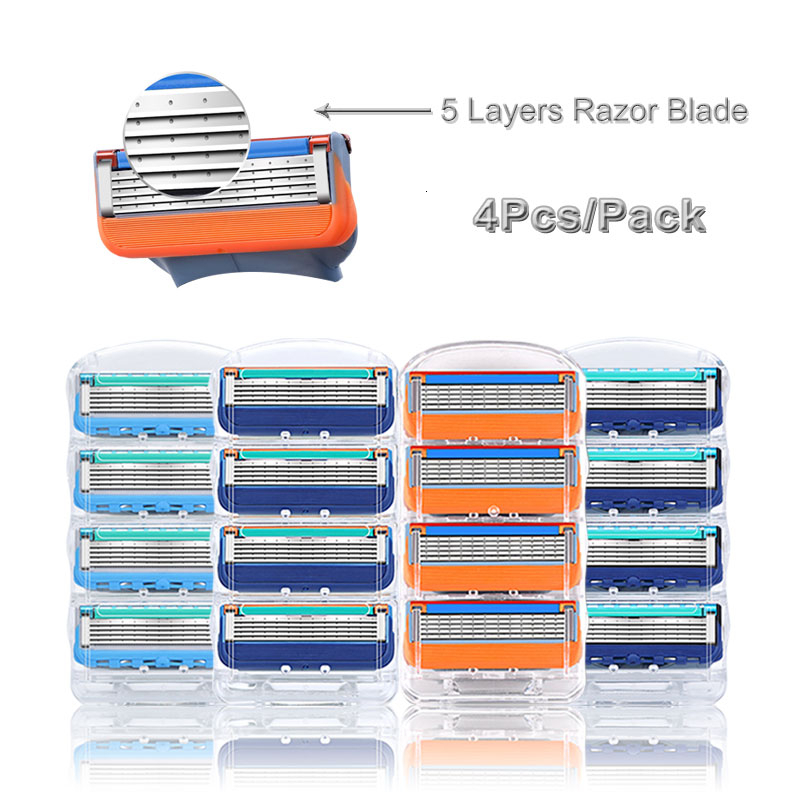 Men Razor Blades 4pcs/pack For Gillettee Fusione 5 Shaving Cassettes Replaceable 5 Layer Stainless Steel Male Face Care Blades