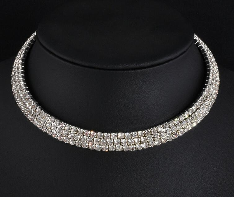 Fashion Hot Sales Silver Claw Chain Crystal Inlaid Bride Neck Ring Necklace Wedding Wedding Dress Accessories Accessories Neckla