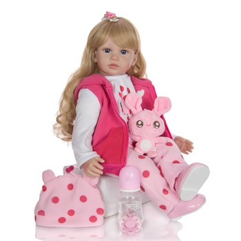 Adorable 60 cm bebes Reborn Toddler Girl Dolls lifelike Princess blond wig silicone vinyl Reborn baby Doll lol For child gift