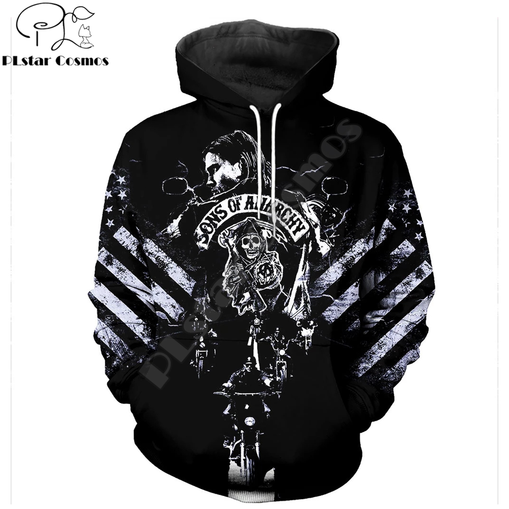 2019 New Fashion Hoodies 3D All Over Printed Son Of Anarchy Cosplay Costume Men&Women Streetwear Hoodie Sudadera Hombre