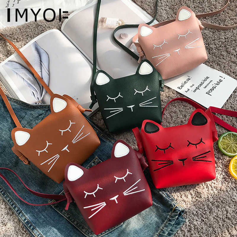 New Lovely Children One Shoulder Bags Coin Purse PU Leather Cute Cat Girls Princess Crossbody Bag Mini Baby Boys Kids Handbag