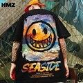 Футболка HMZ мужская с принтом дьявола и смайлика, уличная одежда в стиле хип-хоп, повседневный топ с коротким рукавом, рубашка, лето 2021