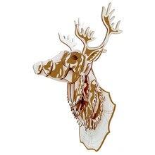 Голова оленя DIY 3D деревянная головоломка по дереву сборочный набор резка деревянные игрушки для Рождественский подарок 3074