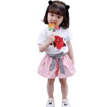 Модная Новая летняя детская одежда костюм футболка с цветочным