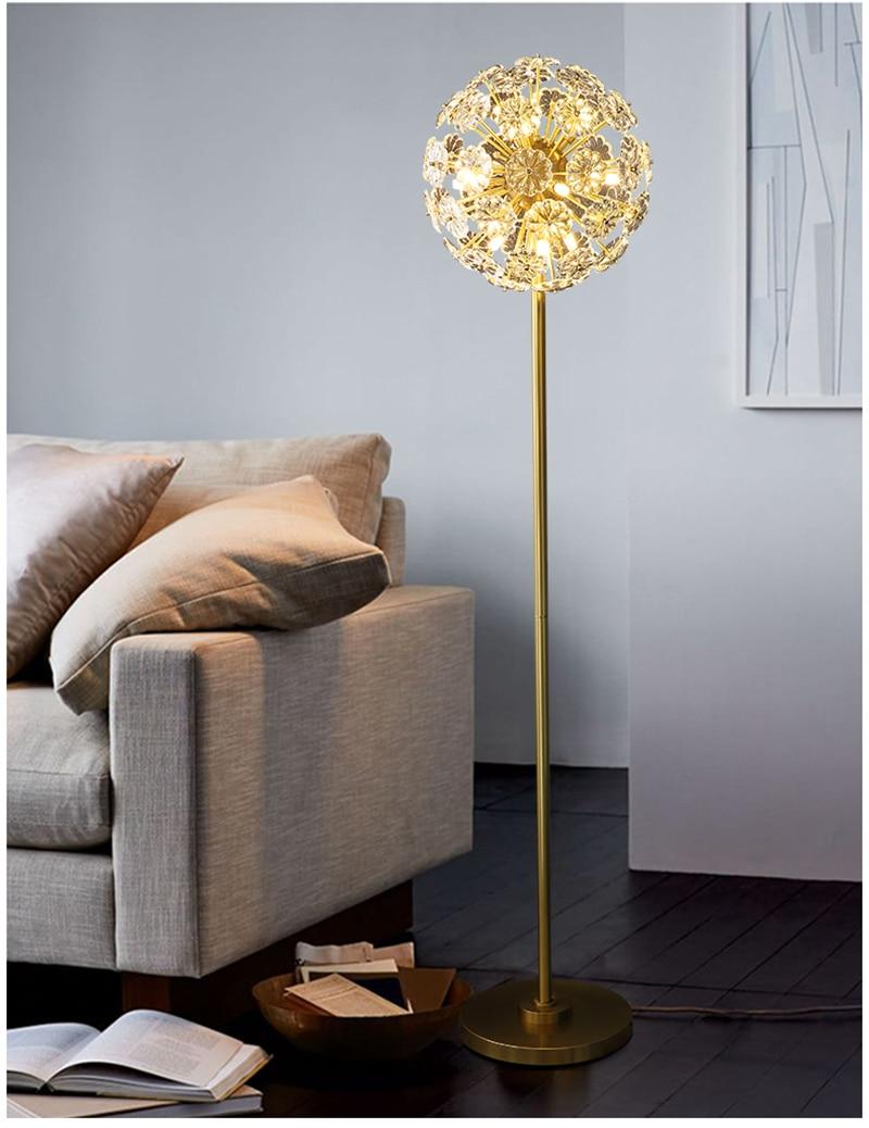 Modern Crystal Brass Floor Lamp - Lamps & Lighting