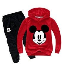 Весенне-осенний Детский костюм с Микки и Минни Маус для мальчиков модные толстовки свитер с Микки Маусом хлопковые детские комплекты из двух предметов