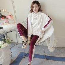 9155# плотные теплые костюмы из бархатного плюша для беременных, осенне-зимняя одежда для беременных женщин, Спортивные Повседневные костюмы для беременных