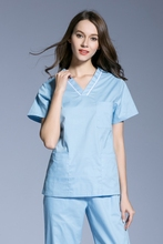 Korean women's pure cotton short-sleeved medical hand-washing clothes work set oral hospital brush hand clothing