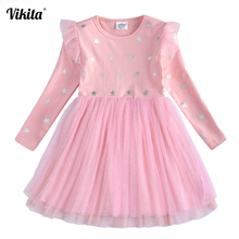 VIKITA Brand New Children Princess Dress Girls Star Tutu Dresses Baby Girl Long Sleeve Clothes Kids Party Dresses for Girls