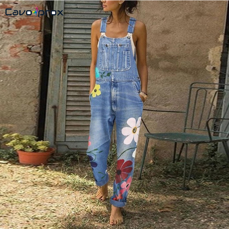 Women Plus Size Flora Printed Spaghetti Strap Denim   Jumpsuits   Casual Loose Style Chic Fashion Female Street Wear Overall