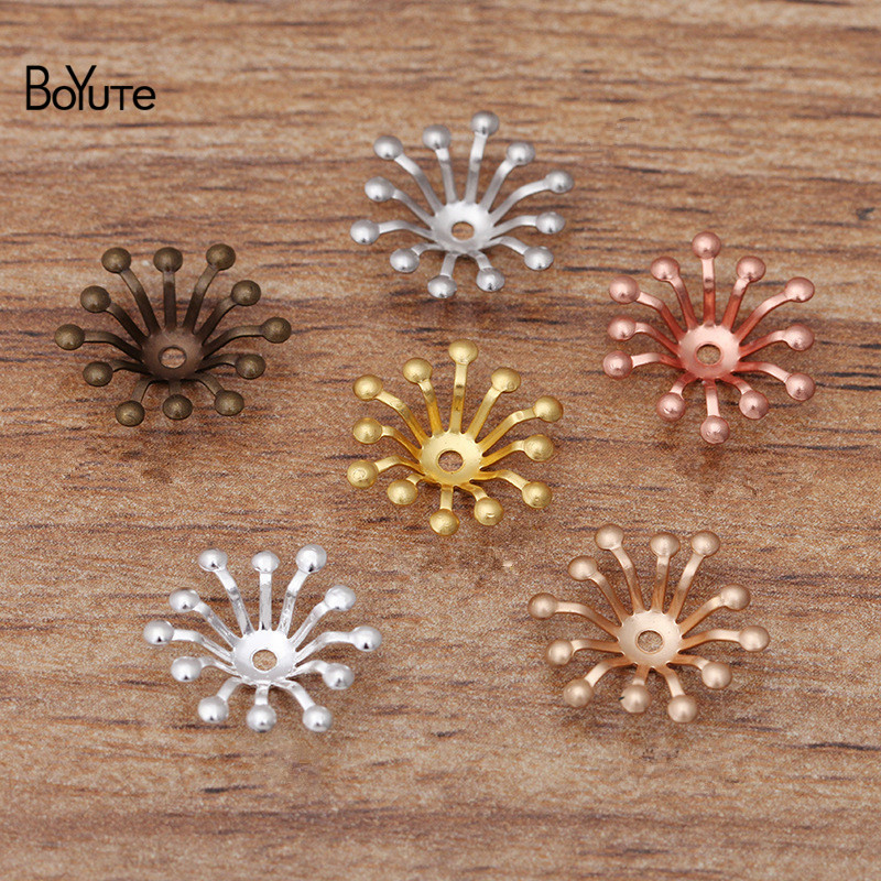BoYuTe (400 Pieces/Lot) 13MM Metal Brass Flower Stamen Bead Caps Findings Diy Jewelry Accessories Wholesale