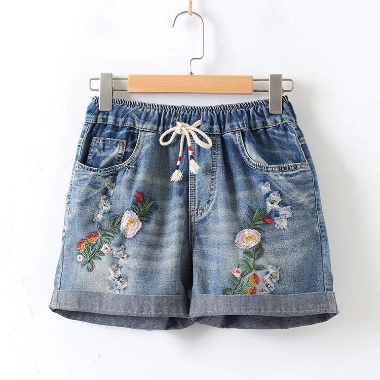 Denim Shorts Female Summer Korean-style New Style Hot Pants Loose-Fit With Holes High-waisted Rose Embroidered Shorts Summer Ll4