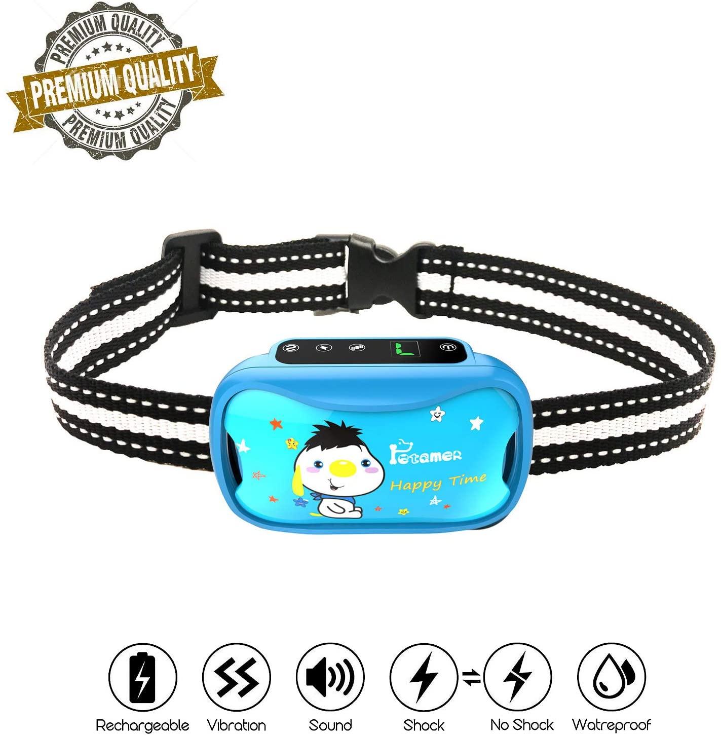 Colar recarregável do cão e do colar do colar de choque com vibração do sinal sonoro safeno humano remoto anti coleira da casca para o cão médio pequeno grande