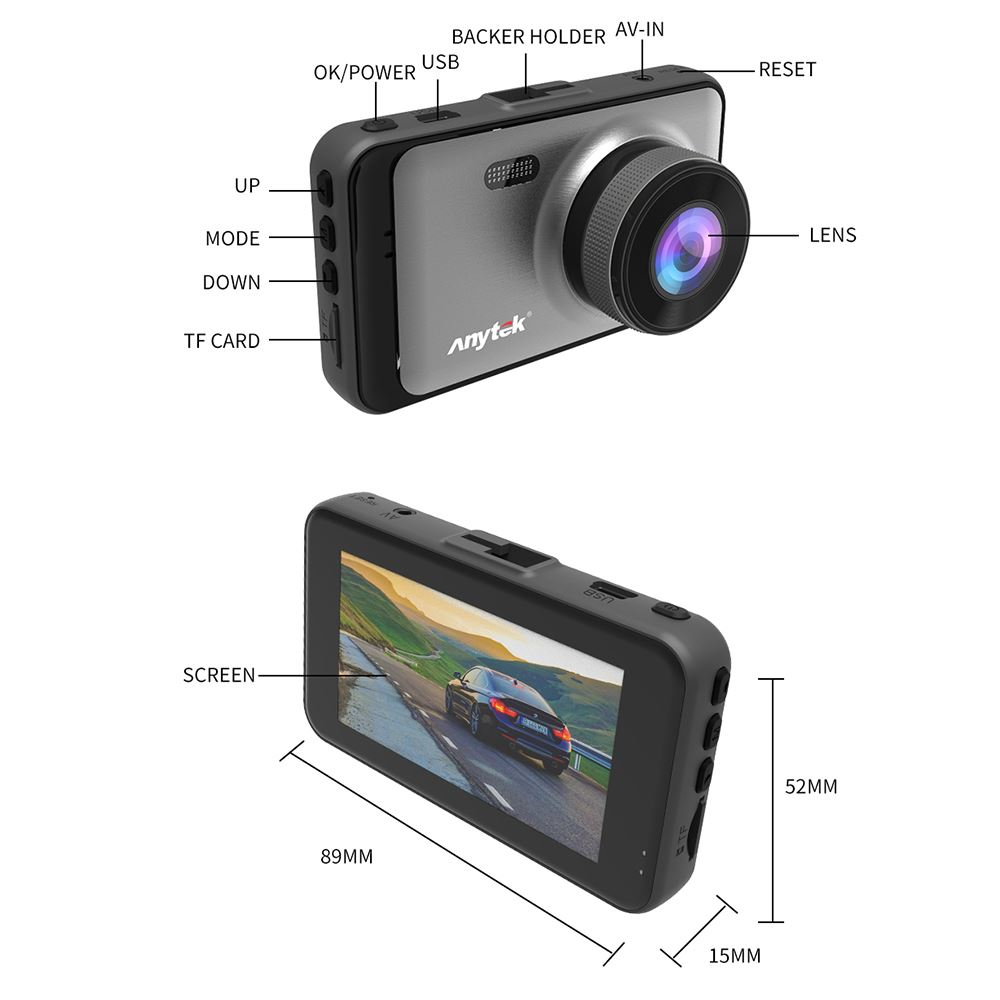 Car DVRs Camera Dash Cam X31 Driving Recorder High-definition Front and Rear Dual Lens 1080P Motion Detection Parking Monitor