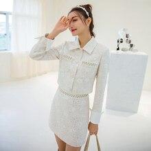 Coats YIGELILA Sequined Fashion Women Tweeds Solid Short Beading Slim 91166 Elegant