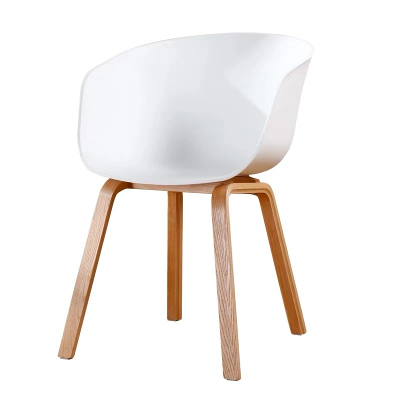 Nordic Chair Simple Makeup Computer Desk Chair Plastic Back Leisure Negotiation Solid Wood Cafe Single Dining Chair