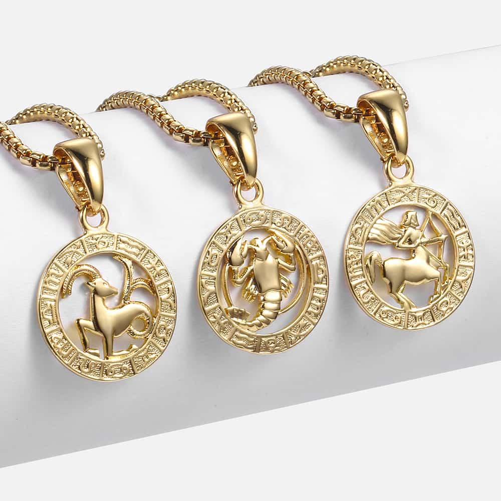 Gran oferta, 12 Constelaciones, signo del zodiaco, colgante de oro, collar para mujeres y hombres, regalo de moda, Dropshipping, joyería GPM24B