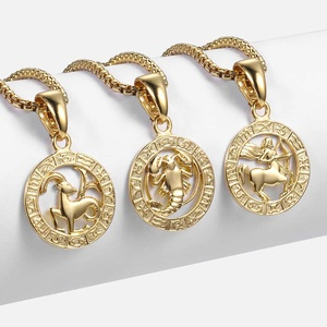 Hot Sale 12 Constellations Zodiac Sign Gold Pendant Necklace for Women Men Fashion Gift Dropshipping Jewelry GPM24B
