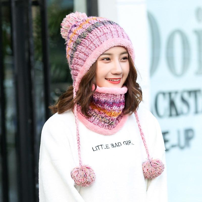 New Warm Knit Hat Scarf Set Women Pom Poms Beanie Hat For Winter Autumn Neck Mask Hat For Girls Balaclava Sacrf Skullies Hats