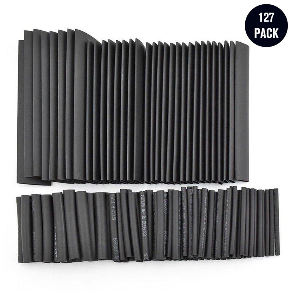 127pcs Black Glue Weatherproof Heat Shrink Sleeving Tubing Tube Assortment Kit Car Cable Sleeving Assortment Wrap Wire Kit LESHP