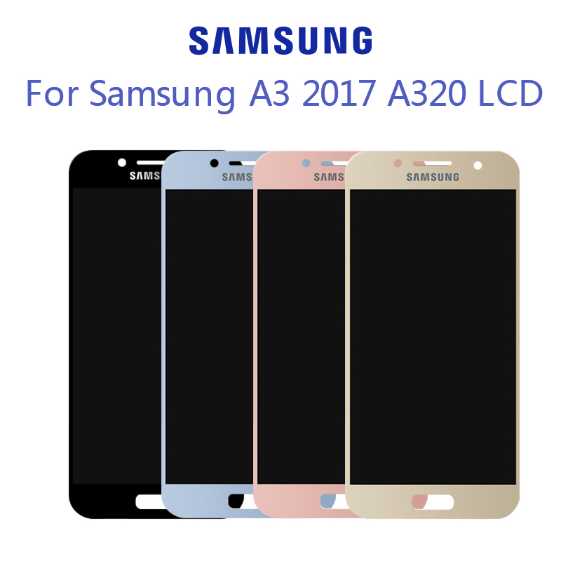 100% Tested Super <font><b>AMOLED</b></font> LCD For Samsung <font><b>A320</b></font> LCD For Samsung A3 2017 <font><b>A320</b></font> Display LCD Screen Touch Digitizer Assembly image