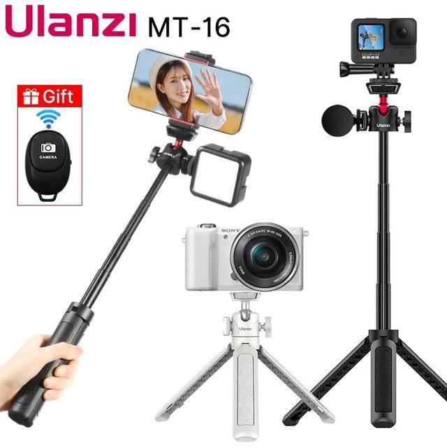 Ulanzi MT 16 wysuwany Mini statyw z zimnym butem do mikrofonu LED Light Selfie Stick kamera internetowa statyw do iPhone DSLR Sony Gopro Vlog