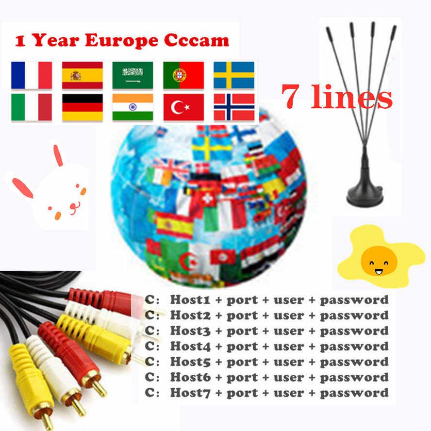 1 ano cccam europa 6 7 linhas cartão de compartilhamento servidor mgcam oscam cccams para vu starsat receptor de tv via satélite via usb wifi