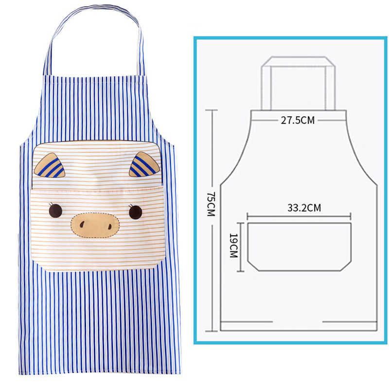 หมูน่ารักผ้ากันเปื้อนครัวกันน้ำการ์ตูนพิมพ์บ้านทำความสะอาดเครื่องมือสำหรับทำอาหารภาพวาดอุปกรณ์ครัว