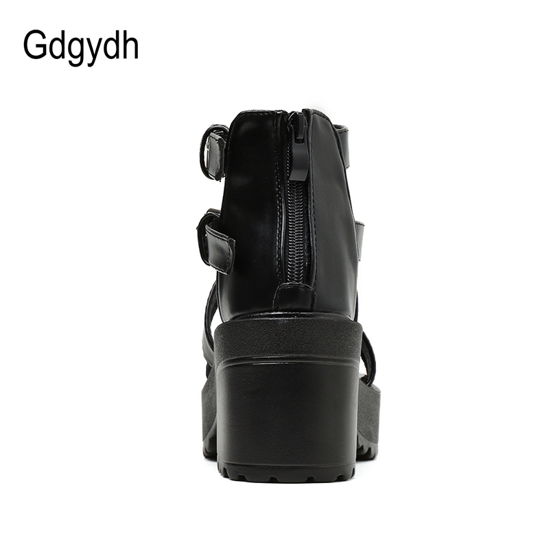 Gdgydh 2020 New PU Leather Buckle Thick Bottom Platform Shoes Women Roman Style Chunky Heels Sandals Female Footwear Punk Rock