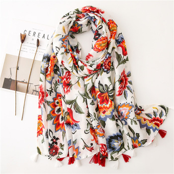 Women Spring Cotton Tassel Shawl Floral Voile Korean Style Long Pashmina Wrap Thin Sun Protection Summer Soft Scarf chic skulls and stripes pattern voile pashmina for women