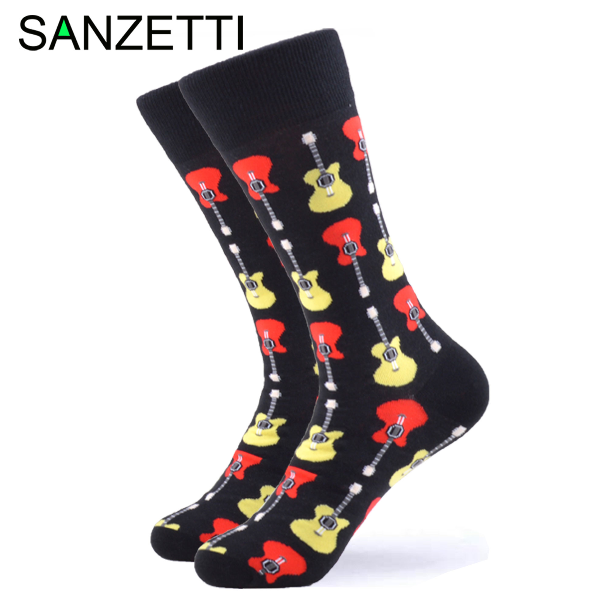 SANZETTI 1 Pair New Style Happy Socks High Quality Men's Colorful Combed Cotton Guitar Pattern Novelty Gift Wedding Dress Socks