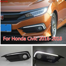 цена на For Honda Civic 2016 2017 2018 12V LED Car DRL Daytime Running Light Driving Daylight fog lamp with Turn Signal style Relay