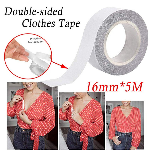 5M Waterproof Dress Cloth Tape Double-sided Secret Body Adhesive Breast Bra Strip Safe Transparent Clear Lingerie Tape