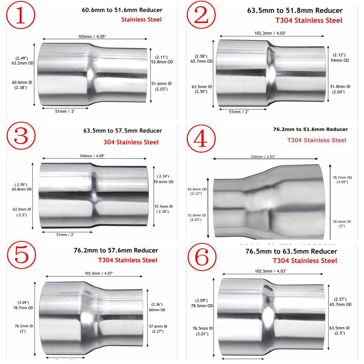 Tubo de aço inoxidável do conector do adaptador do redutor da exaustão do carro universal 76mm 63mm 60mm a 63mm 57mm 52mm 50mm 6 tamanho