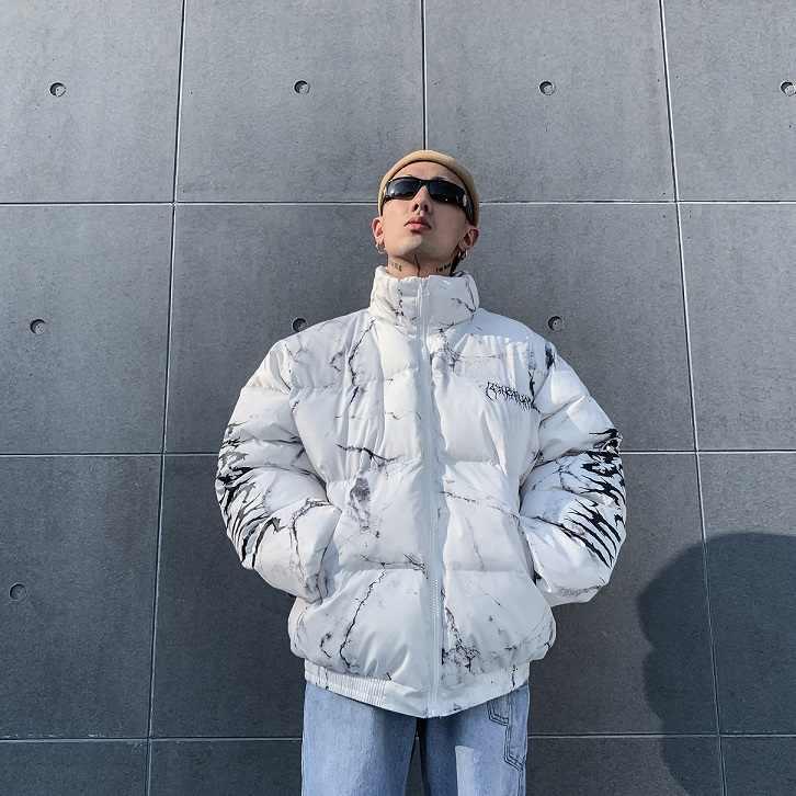男性の冬のコート 2019 ヒップホップジッパーポケット厚手のジャケットコート男性ファッションカジュアルテクスチャ印刷ストリートジャケットトップス
